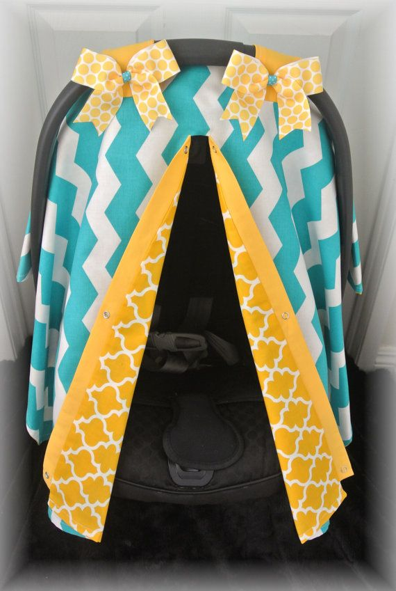car seat canopy, car seat cover, chevron, teal, yellow, mustard, bows, polka dot, baby, chevron, infant girl, baby girl, baby, infant boy on Etsy, $35.99