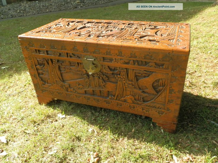 Antique hand carved camphor chest camphor chest for Oriental wood carved furniture