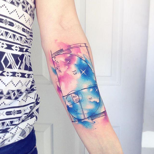 Fbncc AB #tattoo #tatuaje #fibonacci #colors #wattercolor #galaxy #star #orion #space #spacetattoo #ab #matematica #matematik