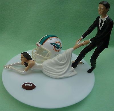 Wedding Cakes Toppers: Wedding Cake Topper Miami Dolphins Football Fan Themed Groom Pulling Bride Sport BUY IT NOW ONLY: $64.99