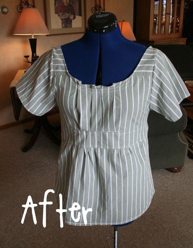 DIY shirt refashion tutorial start with a man's button up dress shirt