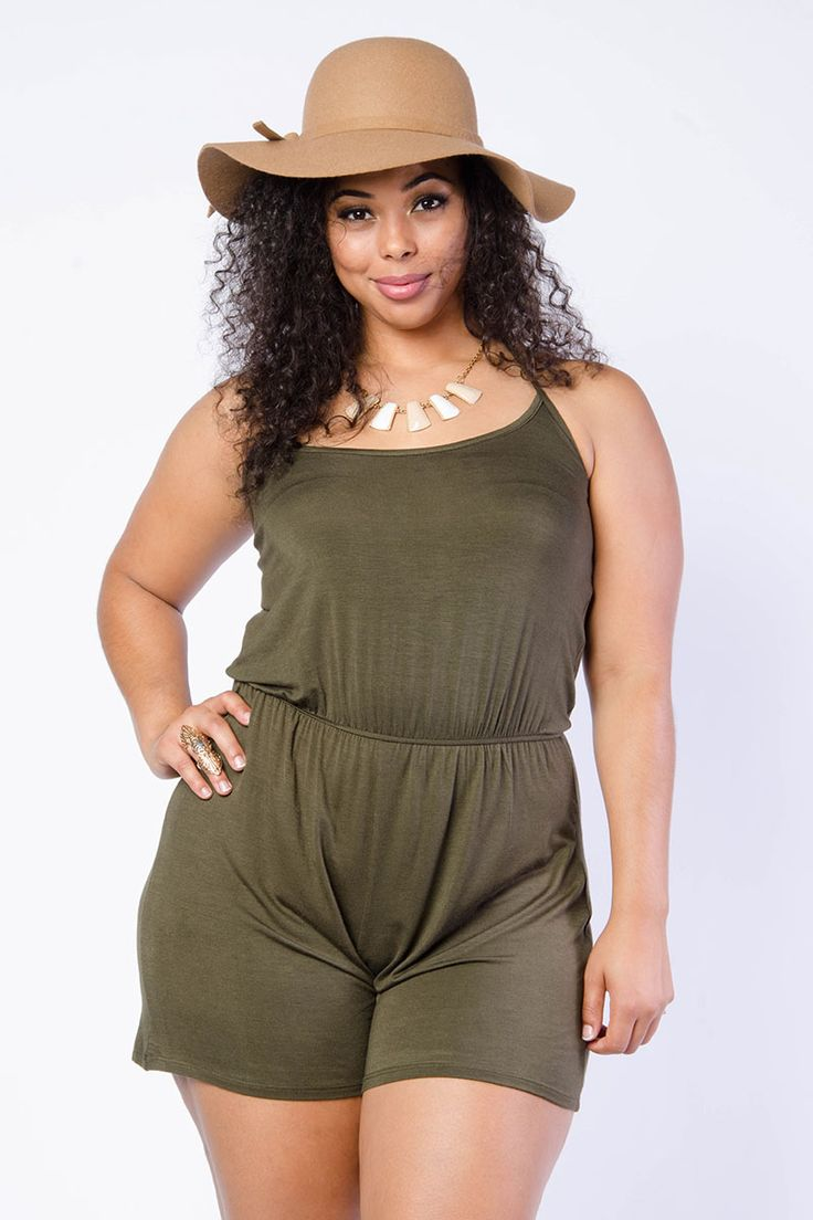Plus Size Casual Solid Romper $14.99