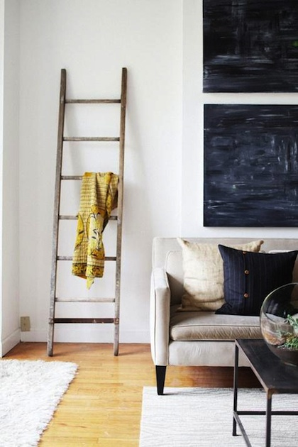 Love the indigo paintings on the wall