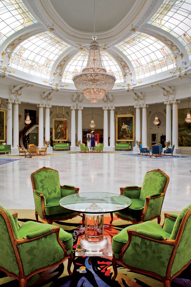 Lobby of the hotel Negresco in Nice, France.  ASPEN CREEK TRAVEL - karen@aspencreektravel.com