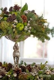 Christmas in pedestal dish w fruit