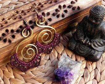 Macrame earrings bohemian jewelry boho earrings tribal by QuetzArt