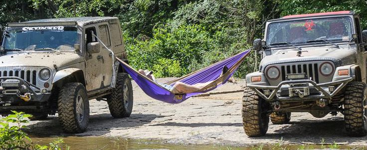 I keep my TTM Hammock in my Jeep at all times. I have slept in them while camping and they are super comfortable.  Customize yours on www.ticketothemoon.com