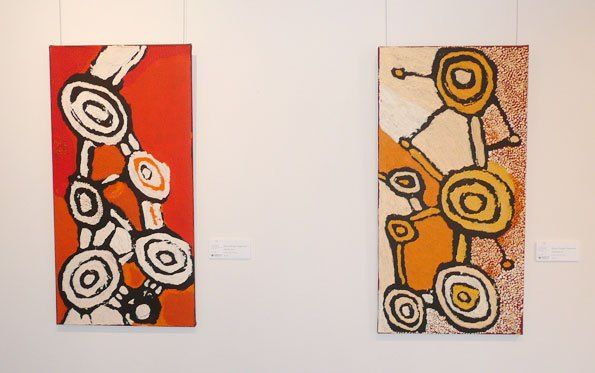 Johnny Yungut Tjupurrula solo show, 'Tjupurrulaku,' at the Papunya Tula Gallery, Alice Springs, 2013. Left, Wilkinkarra, 2013, acrylic on linen, 91 x 46 cm. (a masterwork of dynamism - one of the old man's most powerful compositions); right: Wilkinkarra, 2012, acrylic on linen, 91 x 46 cm.