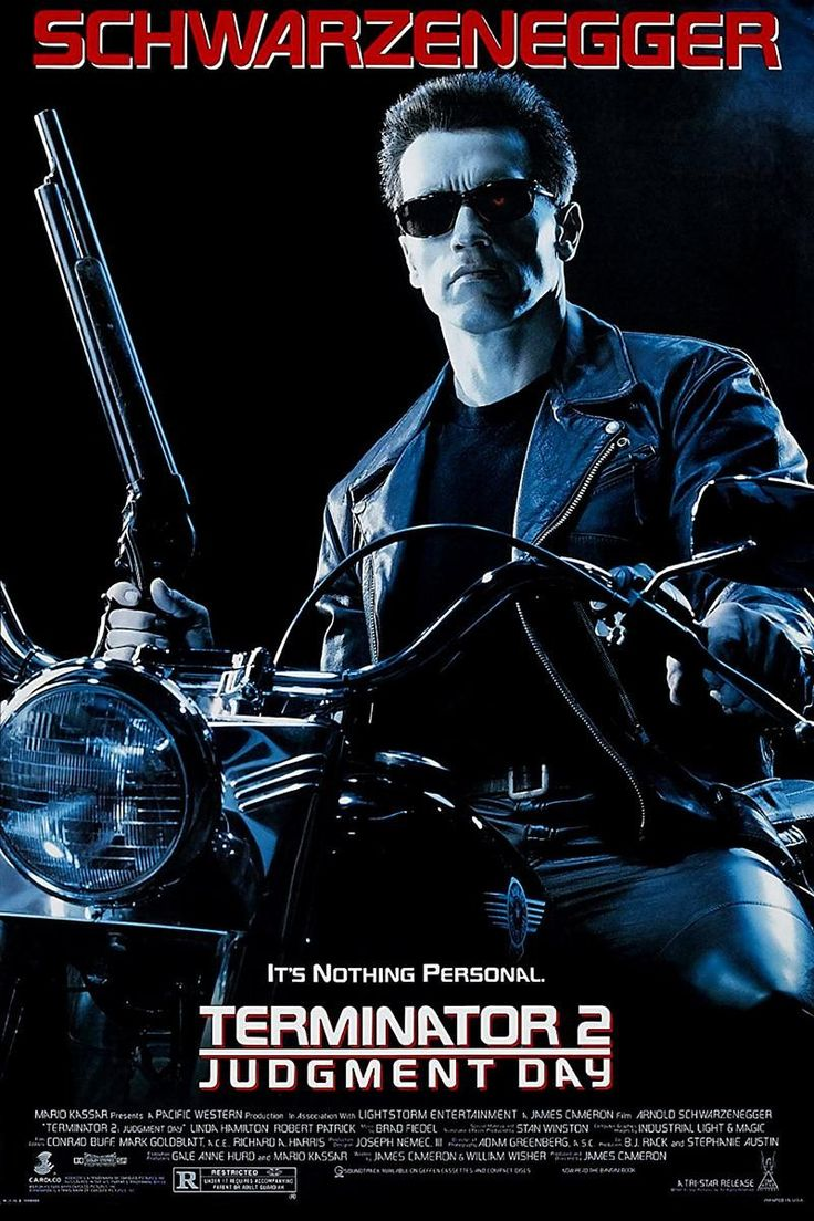 Terminator 2: Judgment Day (also referred to as simply Terminator 2 or T2) is a 1991 American SF film by James Cameron. The film stars Arnold Schwarzenegger, Linda Hamilton, Robert Patrick and Edward Furlong. It is the sequel to the 1984 film The Terminator. The film received many accolades, including four Academy Awards and it has since been ranked by several publications such as the American Film Institute as one of the greatest action films, science fiction films and sequels of all time.