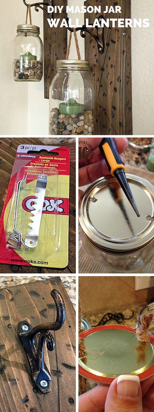 Check out the tutorial: #DIY Mason Jar Wall Lanterns #crafts #homedecor