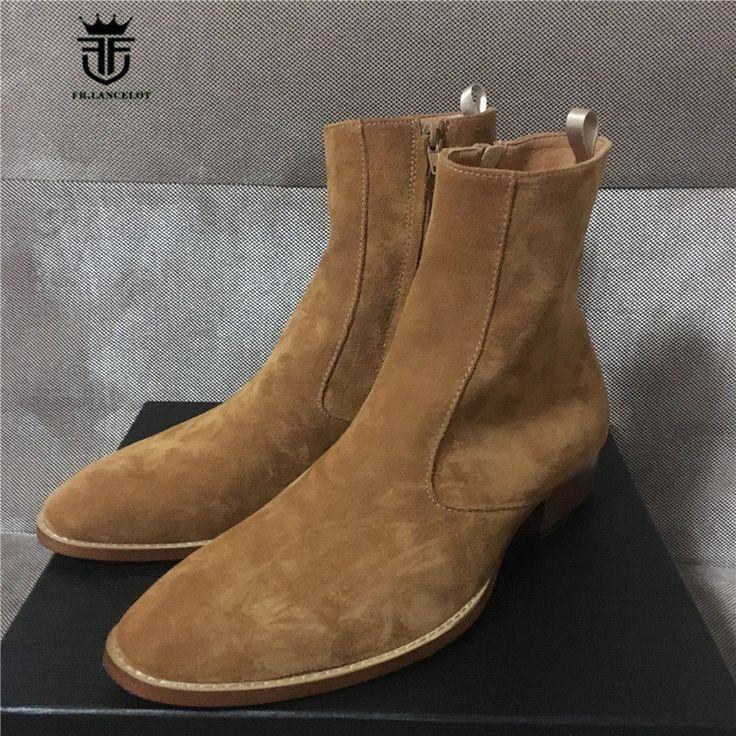 Handmade Men Tan color Suede ankle boots Men side zipper boots, Men Zipper boots #Handmade #AnkleBoots
