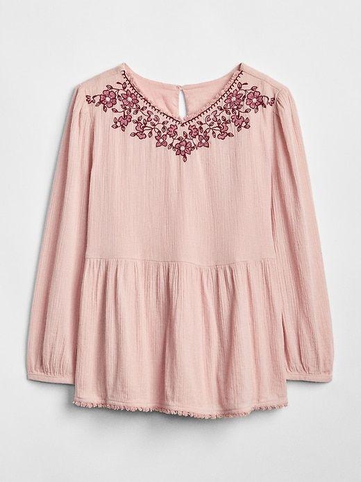 457d097df Gap Girls  Embroidered V-Neck Top Pink Standard in 2019