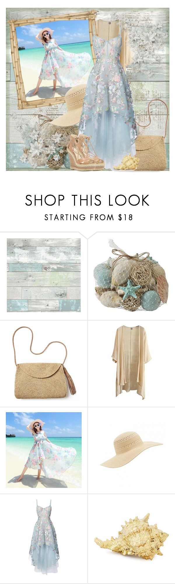 """""""Day At The Beach"""" by melissaandjasperforever ❤ liked on Polyvore featuring Wall Pops!, Pier 1 Imports, Mar y Sol, Millà, Notte by Marchesa and Jessica Simpson"""