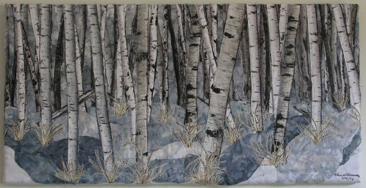 #Birches in snow landscape quilt. Designed by Chris Allaway.  Fabric Collage, Free motion sewing, thread painting, mounted on canvas 20 x 10.  Sold