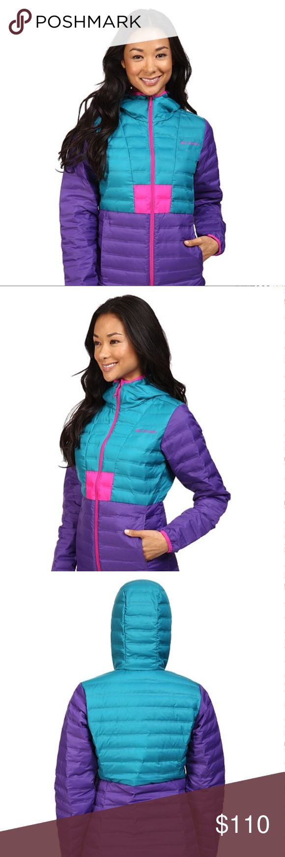 NWT Women's Columbia Flashback Down Jacket! New with tags, never worn, no damage to this women's retro-style puffy coat! Features HEAT SEAL technology that eliminates baffled stitches, so the down stays in & the cold stays out. 650 fill power down insulation. Chin guard. Zippered hand pockets. Active Fit Shell: 100% Polyester. Insulation: 650 Fill Power Down, 80% Duck Down, 20% Duck Feather. This product is made w/100% responsibly sourced down. Colors are royal purple/sea level/groovy pink…