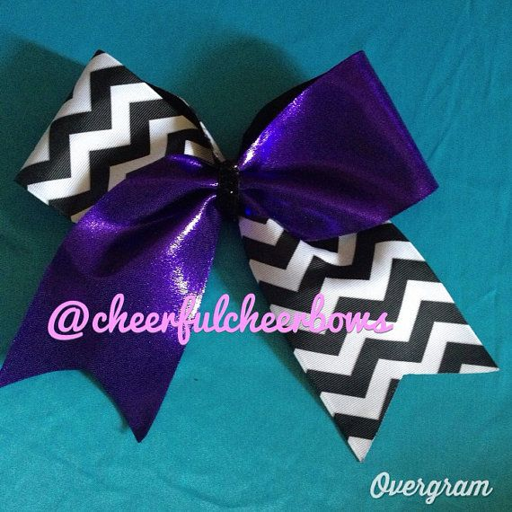 purple and chevron bow chevron cheer bow