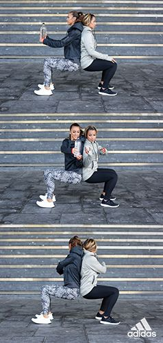 Get a full body workout with Aly and Jasmine's weighted squat passes.