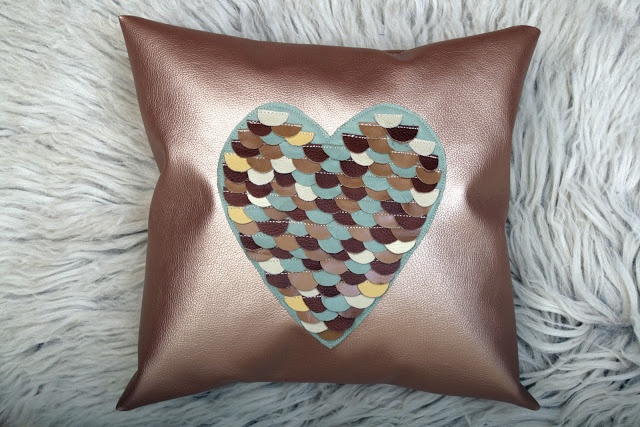 ♥ New Fishscale Pillows with leather ♥  Textile-leather pillow with real leather heart