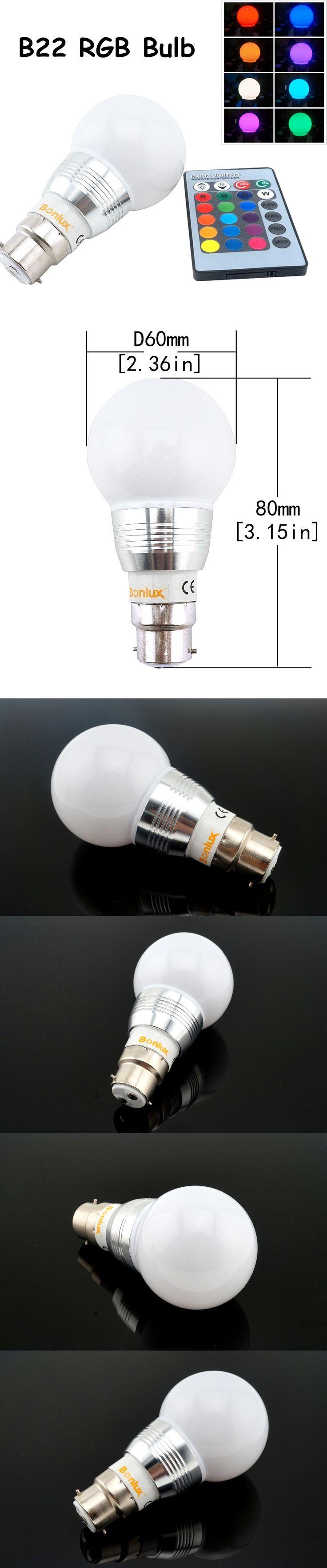 LED B22 RGB Light Bulb 3W 110V 220V A60 Bayonet Spotlight Bulb RGB LED Ball Light with RGB remote controller for Home Decoration $6.66