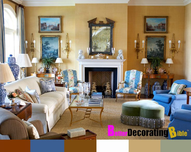 Yellow And Blue French Provincial Decorated Living Dining Room