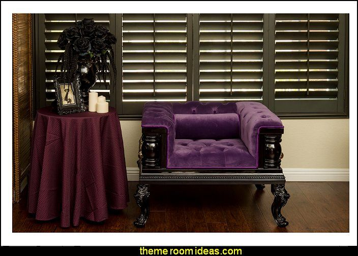 Gothic Inspired Purple Velvet Single Sofa Gothic style bedroom decorating ideas - Gothic furniture - Gothic chic - Victorian Gothic boudoir themed decor - Gothic Beds - Gothic Seating - Gothic Lighting - Designing a Gothic Room - Goth style for teens - Gothic Victorian Bedroom Theme - vampire themed bedroom decorating ideas - Gothic Wall Murals