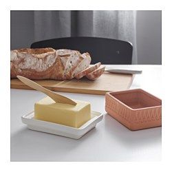 IKEA - ANVÄNDBAR, Butter dish, Soaking the lid before sitting down to eat will keep your butter cold throughout the meal.Perfect for serving meats or cheese.The porous red clay keeps the contents cool without the need for extra energy or ice.