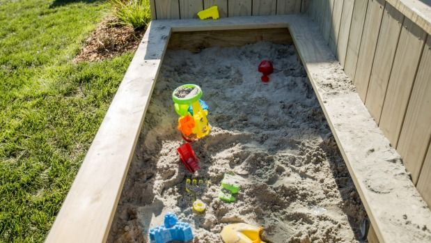 Space was made beside the terrace for a sandpit for the children.