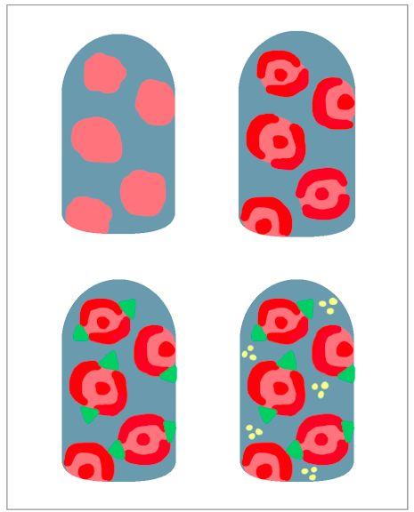 How To: Vintage Roses - easy beginner nail art design- so cute! ^_^