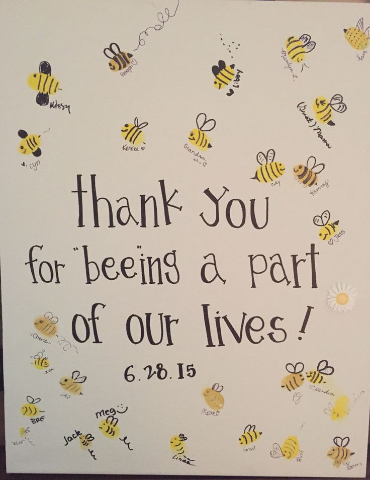 """Bee thumbprints """"mommy to bee"""" baby shower! Set out yellow ink pads, permanent markers and handy wipes. Have all your shower guests make a bee!                                                                                                                                                                                  More"""