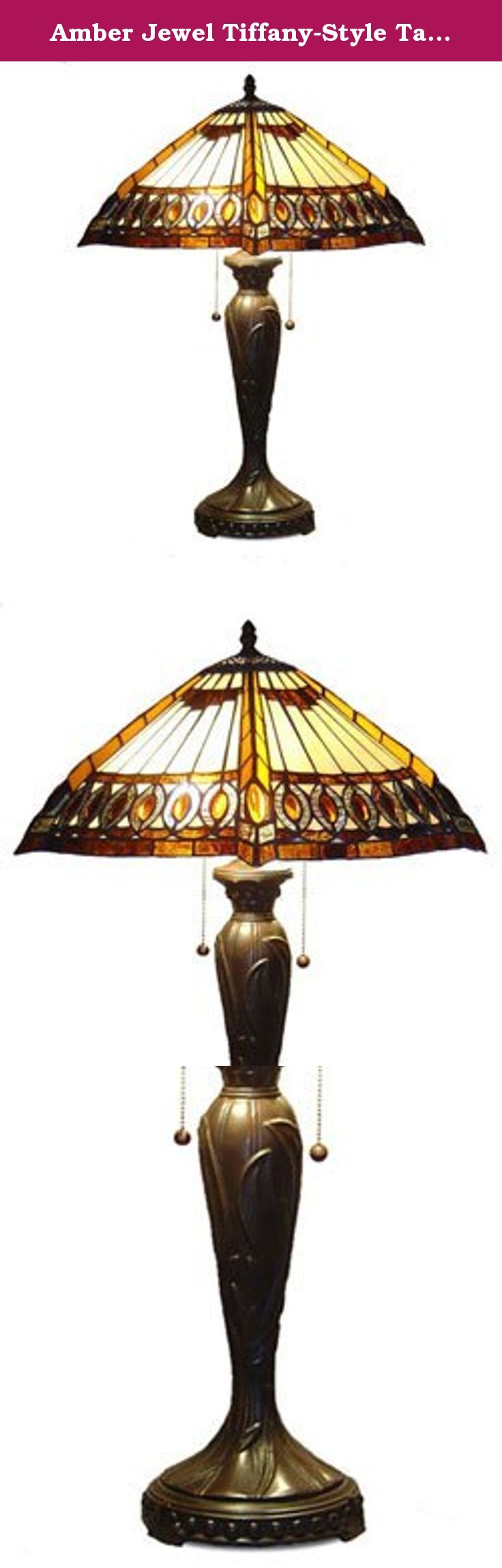 "Amber Jewel Tiffany-Style Table Lamp. Turn-of-the-century American Lighting craftsman design can be found in this Tiffany Style Amberjack Table Lamp. Shade contains hand cut pieces of stained glass, each wrapped in fine copper foil. Cast metal zinc base with an elegant bronzetone finish.The dimensions for this beautiful lamp are W18"" H 25"" with Uses 2 x 60 watt bulbs and 2 pull chain switches."