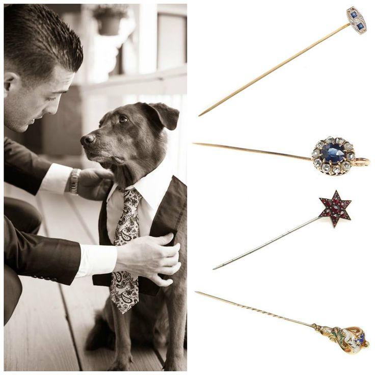 """1. art déco, Szpilka, platyna, złoto pr. ~ 0,700, 1 szt. diament ~ 0,06 ct, 2 szt. szafirów, masa: 1,67 g 2. Szpilka do krawata, złoto pr. """"56"""", 1 szt. szafir ~ 0,50 ct, rozety diamentowe, masa: 1,41 g 3. Szpilka do krawata w formie gwiazdy, metal nieszlachetny, granaty fasetowane, masa: 1,99g 4.biedermeier, XIX w. Szpilka, złoto pr. ~ 0,580, emalia wielobarwna, masa: 2,66 g"""