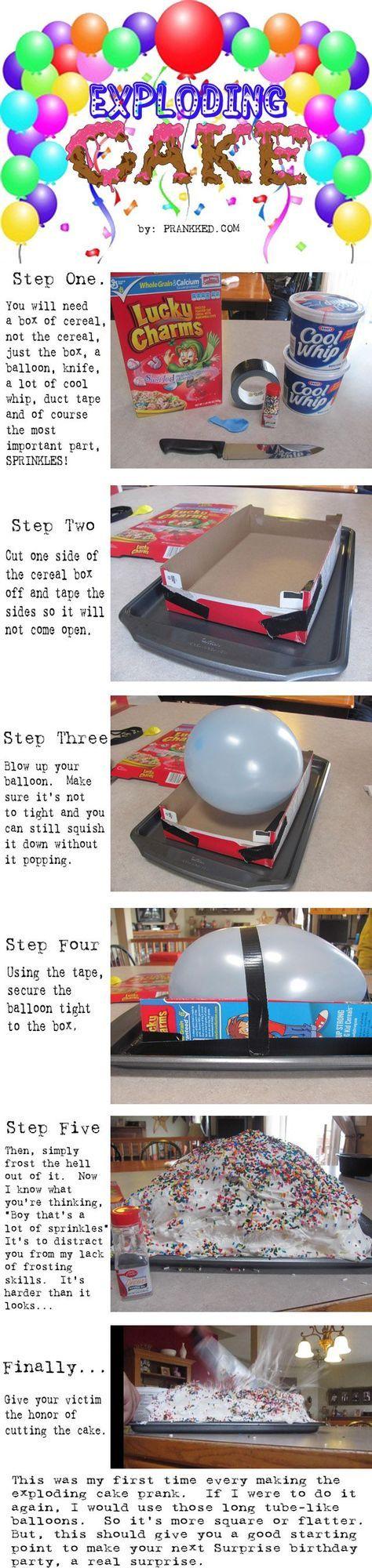 exploding cake..very fun idea