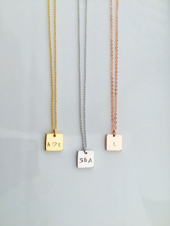 SALE , Square Initial Necklace, Personalized Necklace, Initial Necklace, Couple Necklace, Personalized gift, Sister Gift, Graduation Gift