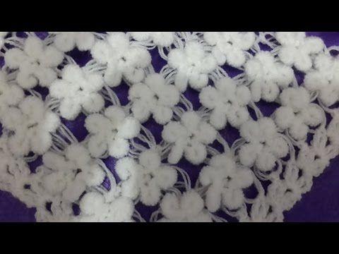 3 boyutlu şal örgu modeli /Crochet : Punto en Relieve Combinado - YouTube