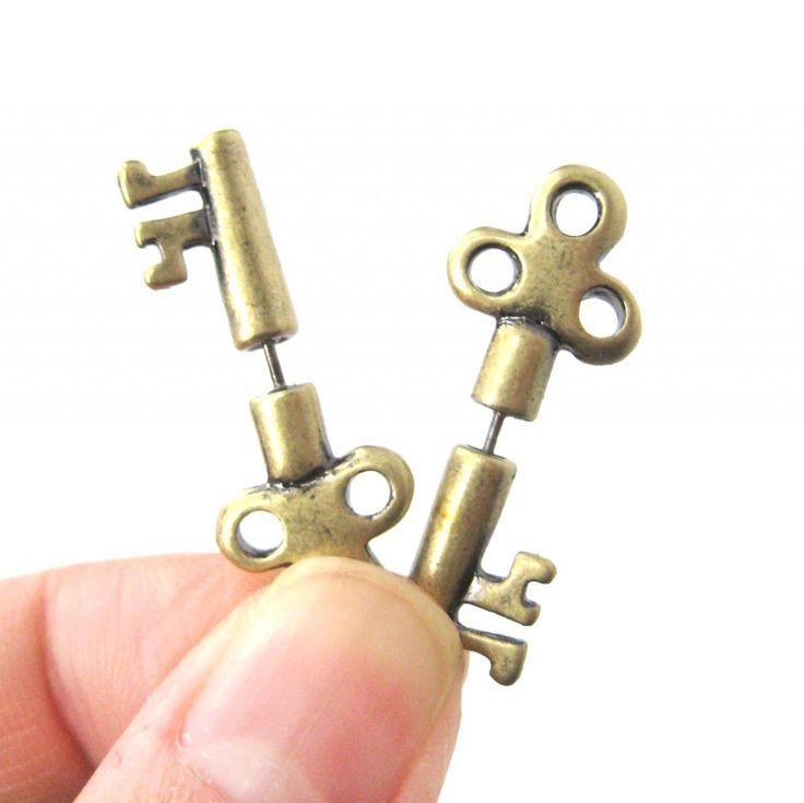 3D Fake Gauge Realistic Antique Key Shaped Stud Earrings In Brass on Luulla