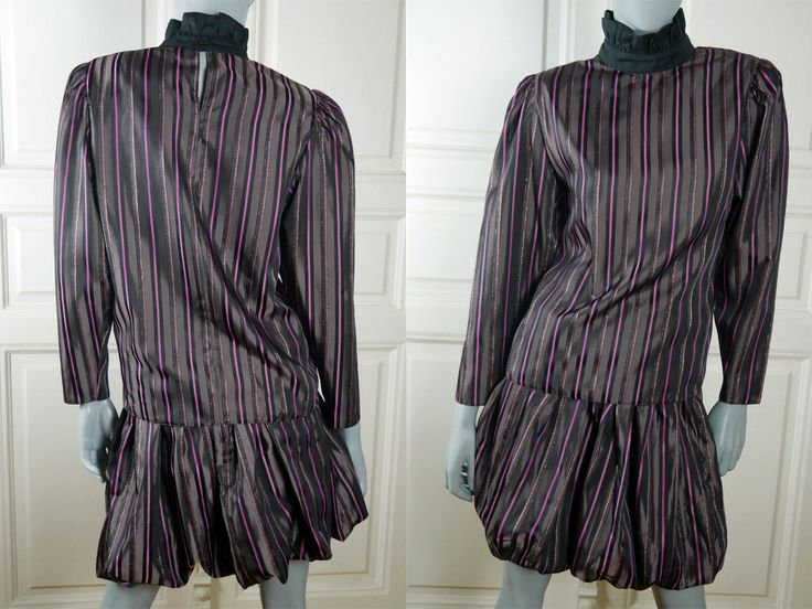 80s Striped Two-Piece Dress Set, Black Purple Pink w Gold Edgings German Vintage Tulip Skirt and Blouse Set: Size 6 (US) 10 (UK) by YouLookAmazing on Etsy