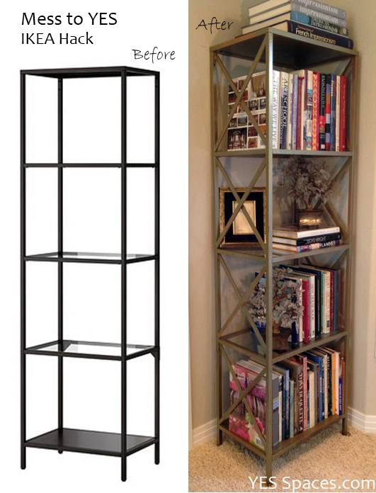 Here is a simple IKEA hack to DIY a gorgeous gold bookcase for under $52.  First, I assembled the book shelf, leaving the glass shelves aside.