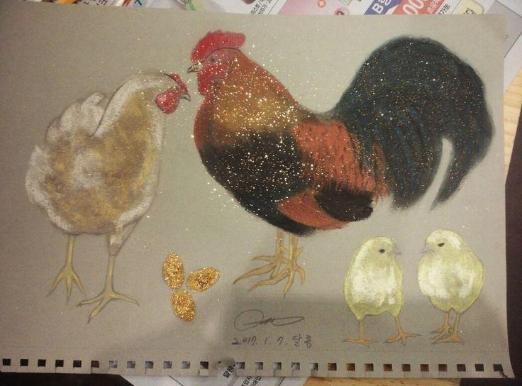 닭  파스텔화