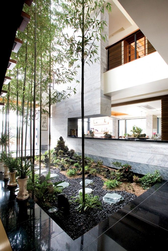 Indoor/Outdoor zen garden.  Love the height of the bamboo beside the high walls.