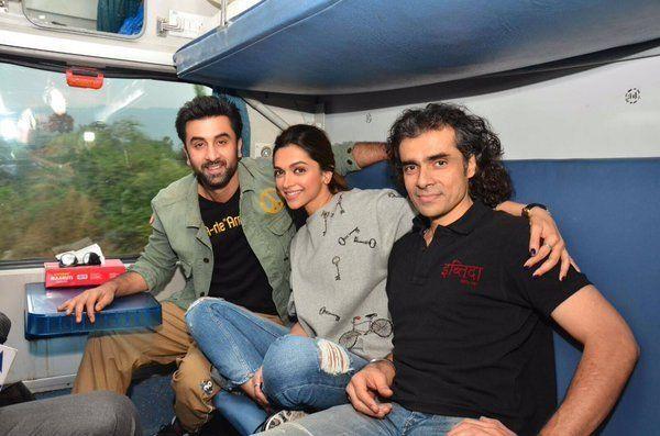 Ranbir kapoor and deepika padukone take train ride mumbai photos