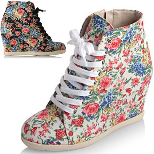 women Floral Flower wedge trainers sneakers lace up zip up booties boots hi top