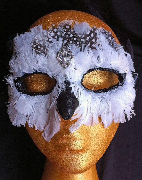 Snowy Owl Mask Handmade Paper Mache Masquerade Ball Mask