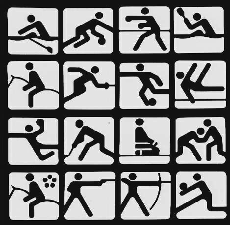 The symbols for the 1980 Olympic games, held in Moscow, were designed by Nikolai Belkow, fresh out of art school