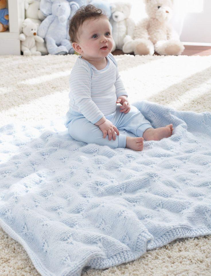 Patons Knitting Patterns Baby Blankets : Yarnspirations.com - Patons Little Butterfly Baby Blanket - Patterns Yarnsp...