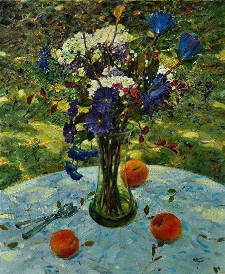 Peaches and Hydrangeas by David Hettinger Oil ~ 24 x 20