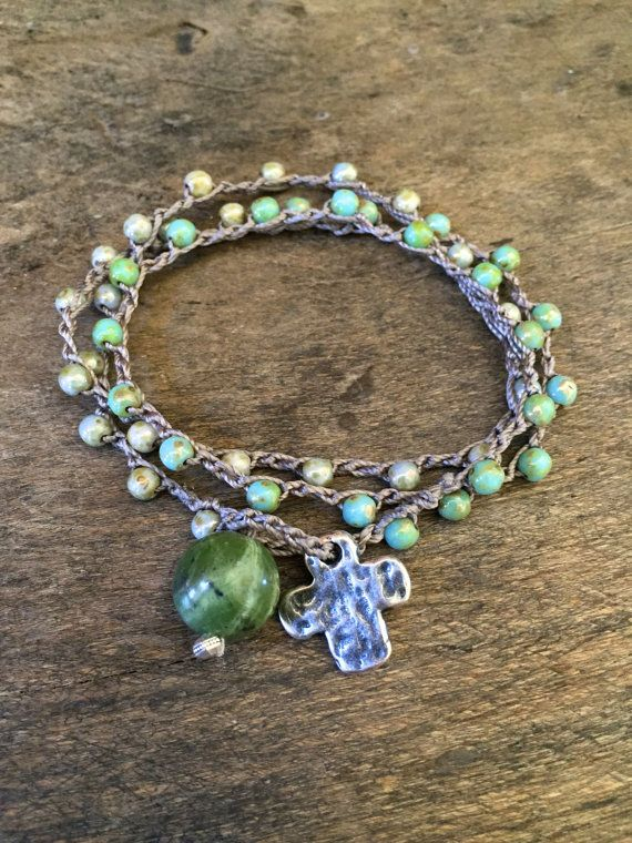 Wear as a 3x wrap bracelet, 2x anklet or as a necklace with the cross in front as a lariat.