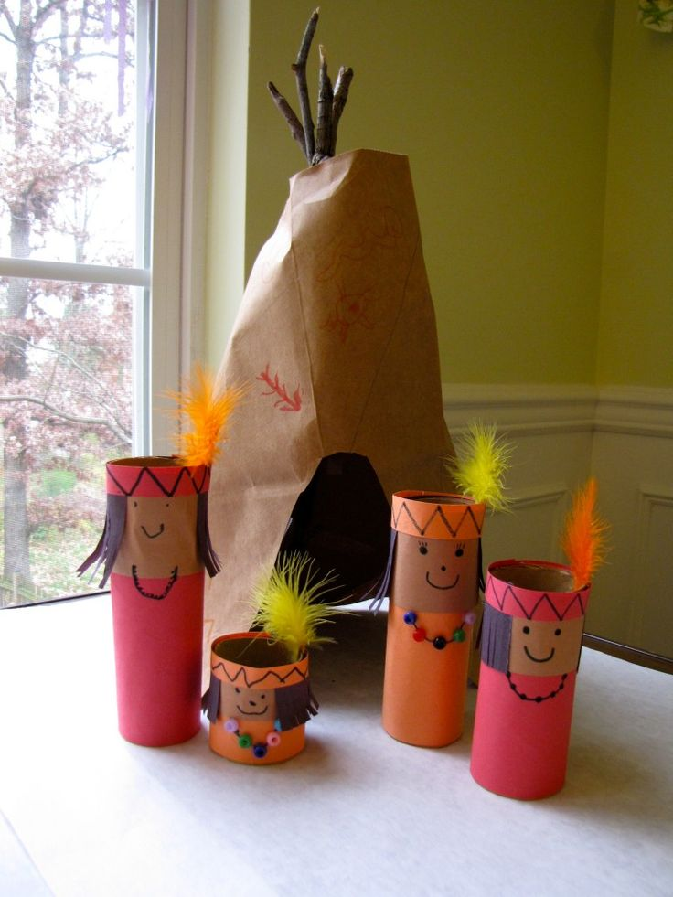 This is supposed to be a Thanksgiving craft, but as we will be studying American Indians and their relationships with early Pilgrims I think this would be a fun activity for the girls. I would imagine you could easily make some Pilgrims and a ship too!