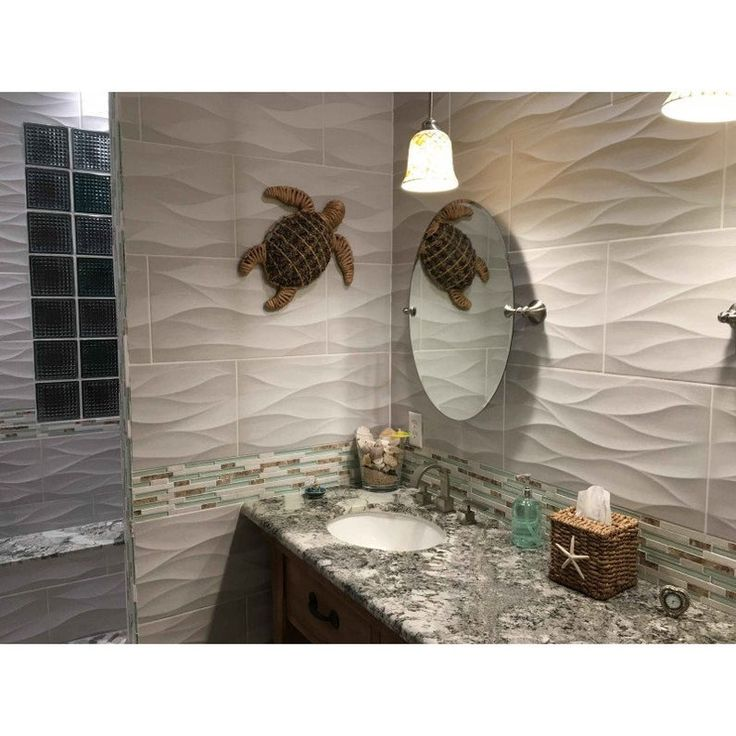Light Green Glass And White Stone Tile, Conch Mother Of
