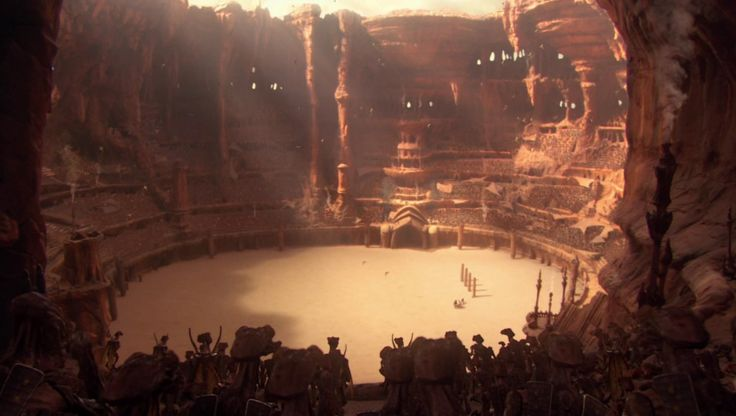 Compare Ancient Olympics and Gladiators to Geonosis Gladiator Arena