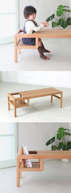Toddler table with built in seat that doubles as a storage space for books or toys.